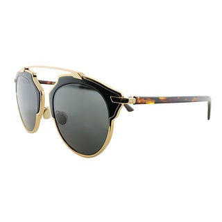 Dior Dior So Real Leather P7P Y1 Gold Black Havana Metal Aviator Grey Lens Sunglasses