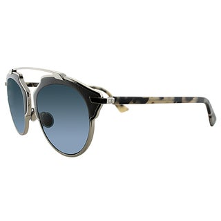 Dior Dior So Real Leather P7Q 8N Palladium Grey Fog Havana Metal Aviator Blue Mirrored Lens Sunglasses