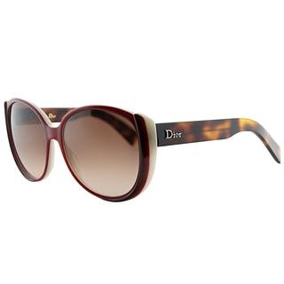 Dior Summerset 1 T6X Cranberry Plastic Cat-Eye Brown Gradient Lens Sunglasses