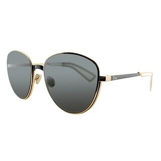 Dior UltraDior/S RCW Matte Black Gold Metal Round Grey Lens Sunglasses