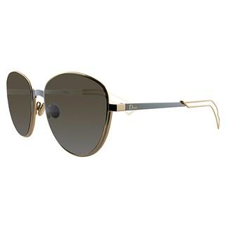 Dior UltraDior/S RCZ Matte Azure Gold Metal Round Brown Lens Sunglasses