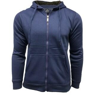 Men's Solid Cotton/Polyester Fleece-lined Zip-up Hooded Sweatshirt