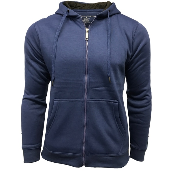 Men 39 s solid cotton polyester fleece lined zip up hooded for Polyester lined flannel shirts