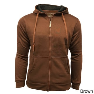 Men's Solid Cotton/Polyester Fleece-lined Zip-up Hooded Sweatshirt