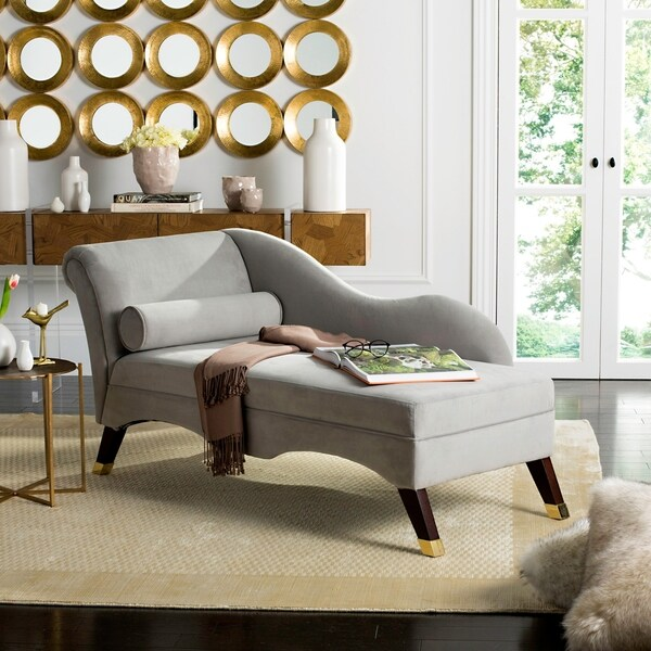 "Safavieh Mid-Century Modern Caiden Velvet Grey Chaise with Pillow - 63"" x 27.5"" x 30"""