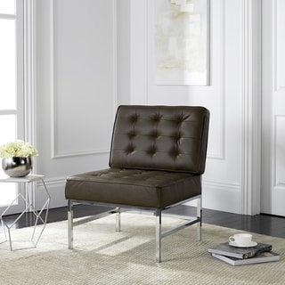 Safavieh Mid-Century Modern Ansel Tufted Leather Chrome Antique Taupe Accent Chair