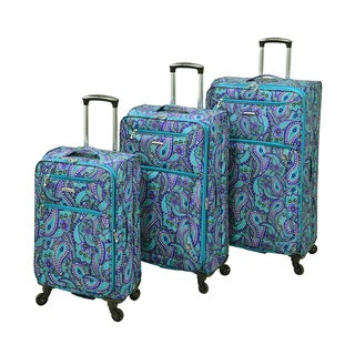 Leisure Vector Featherlights Teal Paisley 3-piece Expandable Spinner Luggage Set