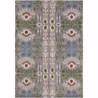 Artist's Loom Hand-Tufted Contemporary Ikat Pattern Wool Rug (7'x10')