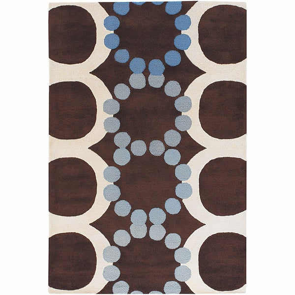 "Artist's Loom Hand-Tufted Contemporary Geometric Pattern New Zealand Wool Rug - 7'9""x10'6"""