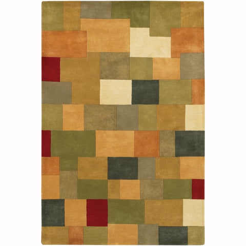 """Artist's Loom Hand-Tufted Casual Color Block Pattern Wool Rug - 7'9""""x10'6"""""""