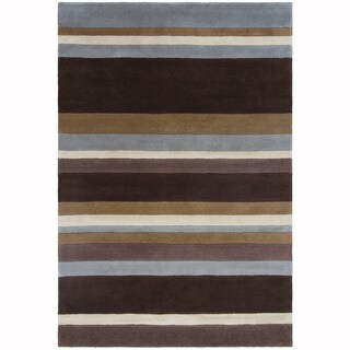 "Artist's Loom Hand-Tufted Casual Stripe Pattern Wool Rug (7'9""x10'6"")"