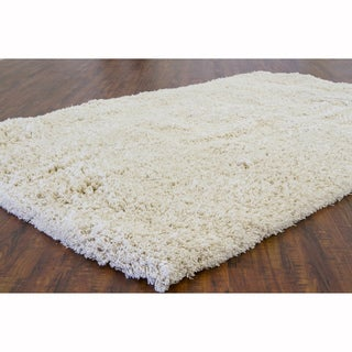 Artist's Loom Hand-Woven Casual Solid Pattern New Zealand Wool Shag Rug (9'x13')