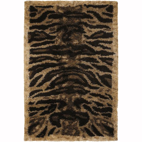 "Artist's Loom Hand-Woven Contemporary Animal Pattern Shag Rug (7'9""x10'6"")"