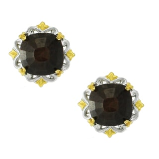 One-of-a-kind Michael Valitutti Palladium Silver Gold Rose Cut Sapphire Stud Earrings