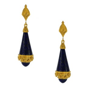 One-of-a-kind Michael Valitutti Palladium Silver Lapis Drop Earrings