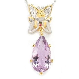 One-of-a-kind Michael Valitutti Fairy Drop Pear Pink Amethyst and Pink Sapphire Pendant