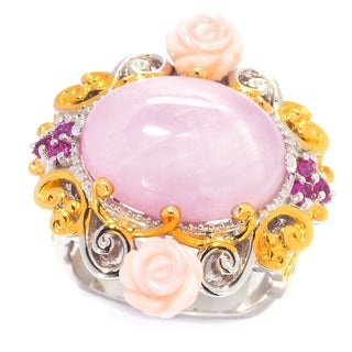 One-of-a-kind Michael Valitutti Palladium Silver Kunzite Curved Pink sapphire and Pink Shell Ring