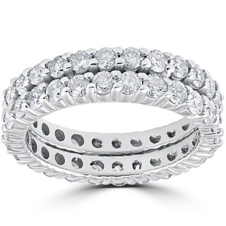 14k White Gold 3ct Diamond Eternity Double Row Womens Wedding Ring (More options available)