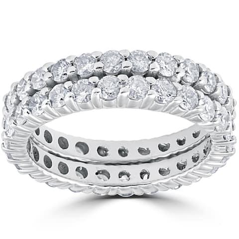 14k White Gold 3ct Diamond Eternity Double Row Womens Wedding Ring