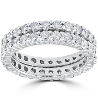 14k White Gold 3ct Diamond Eternity Double Row Womens Wedding Ring