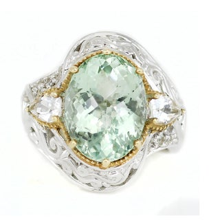 One-of-a-kind Michael Valitutti Palladium Silver Green Amethyst, White Topaz and White Sapphire Ring