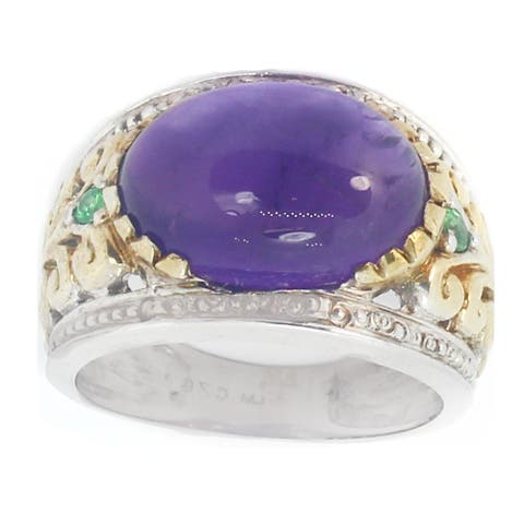 Gems en Vogue Sterling Silver Amethyst & Tsavorite Ring