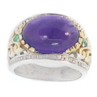 One-of-a-kind Michael Valitutti Sterling Silver Amethyst and Tsavorite Ring