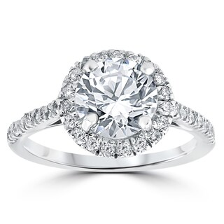 14k White Gold 2 1/3 ct Round Round Diamond Clarity Enhanced Halo Engagement Ring (More options available)