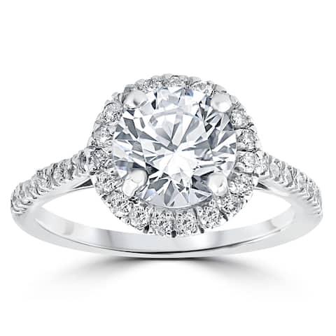 14k White Gold 2 1/3 ct Round Round Diamond Clarity Enhanced Halo Engagement Ring - White H-I - White H-I