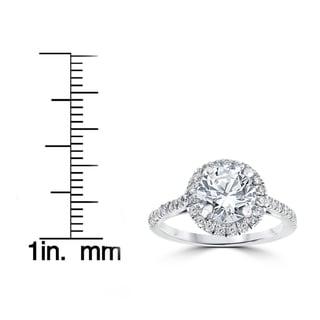 14k White Gold 2 1/3 ct Round Round Diamond Clarity Enhanced Halo Engagement Ring (H-I, I2-I3)
