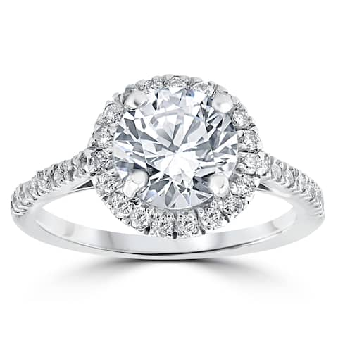 14k White Gold 2 1/3 ct Round Round Diamond Clarity Enhanced Halo Engagement Ring - White H-I
