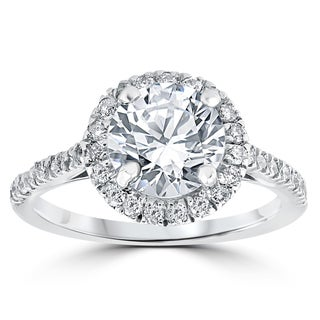 14k White Gold 2 1/3 ct Round Round Diamond Clarity Enhanced Halo Engagement Ring (H-I, I2-I3)