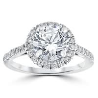 14k White Gold 2 1/3 ct Round Round Diamond Clarity Enhanced Halo Engagement Ring - White H-I