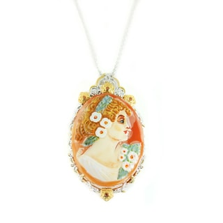 One-of-a-kind Michael Valitutti Palladium Silver Carved Shell Cameo and Orange Sapphire Pendant