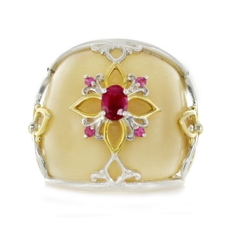 One-of-a-kind Michael Valitutti Palladium Silver Vegetable Ivory Ruby and Pink Sapphire Ring