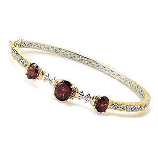 One-of-a-kind Michael Valitutti Palladium Silver Garnet and Dark Orange Sapphire Bangle Bracelet