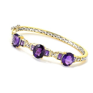 One-of-a-kind Michael Valitutti Palladium Silver African Amethyst Three Stone Bangle Bracelet