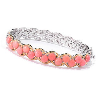 One-of-a-kind Michael Valitutti Palladium Silver Salmon Coral Bangle Bracelet