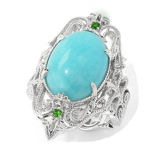 One-of-a-kind Dallas Prince Sterling Silver Oval Amazonite and Chrome Diopside Ring