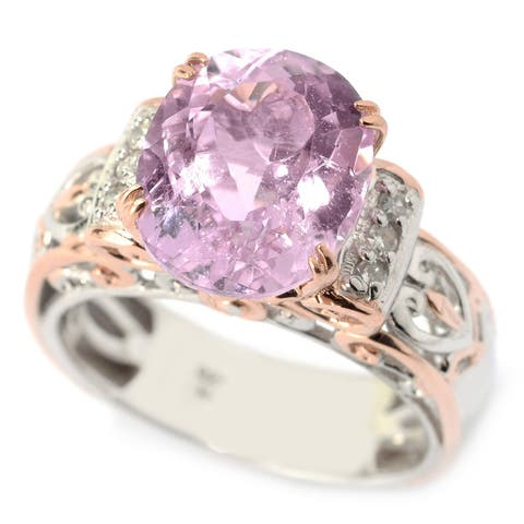 Michael Valitutti Palladium Silver Kunzite and Diamond Ring