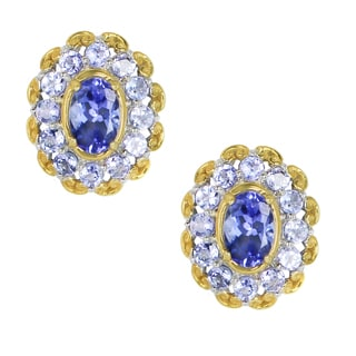 One-of-a-kind Michael Valitutti Palladium Silver Tanzanite Stud Earrings