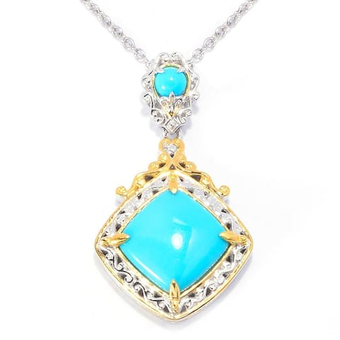 Michael Valitutti Palladium Silver Sleeping Beauty Turquoise Pendant