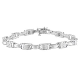 14K White Gold 1 ct. TDW Princess Cut Diamond Chain Link Bracelet (H-I,SI1-SI2)