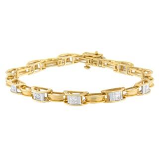 14K Yellow Gold 1 ct. TDW Princess Cut Diamond Chain Link Bracelet (H-I,SI1-SI2)