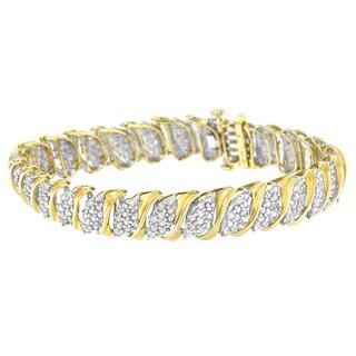 10K Yellow Gold 4 ct. TDW Round Cut Diamond S-Curve Bracelet (J-K,I2-I3)