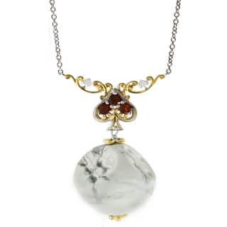 One-of-a-kind Michael Valitutti Palladium Silver Dice/Spade with White Howlite and Garnet Pendant|https://ak1.ostkcdn.com/images/products/13348609/P20050366.jpg?impolicy=medium