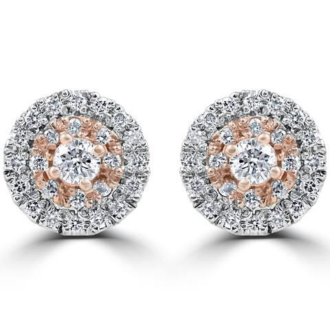 14k White & Rose Gold 5/8 ct TDW Diamond Double Halo Studs