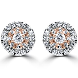14k White & Rose Gold 5/8 ct TDW Diamond Double Halo Studs