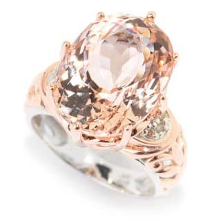 one of a kind michael valitutti palladium silver morganite and diamond ring - One Of A Kind Wedding Rings