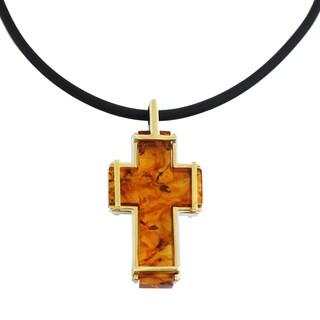 One-of-a-kind Michael Valitutti Palladium Silver Amber Cross Men's Pendant